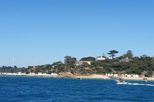 Portsea beach with beach boxes